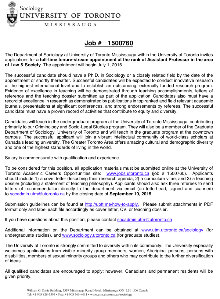 Punishment and Society: New Positions of Interest! U  of