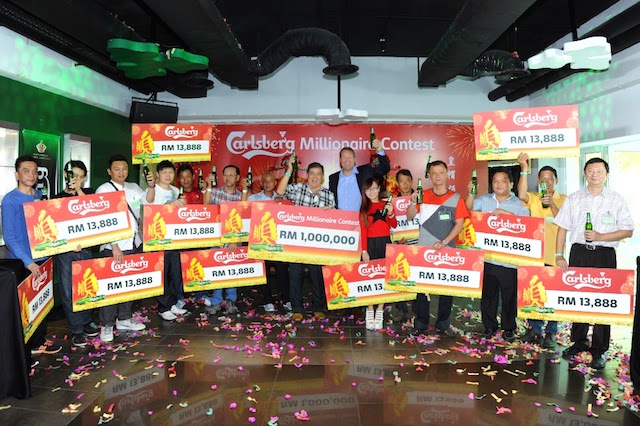 The winners of Carlsberg's Chinese New Year Promotion had a smooth sailing start to the year having each won cash prizes of  RM13,888, including a double windfall for Carlsberg Millionaire, Lim Chong Boon.