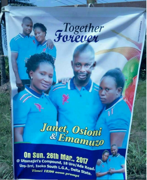 Man set to wed two women in Delta state..See wedding banner - EOnlineGH.Com