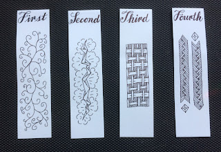 Homemade ZIA bookmarks numbered First through Fourth.