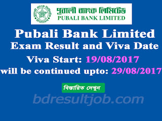 Pubali Bank Limited exam result and viva date