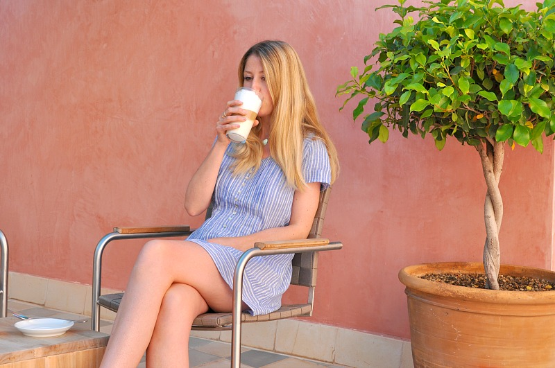 drinking coffee on the terrace