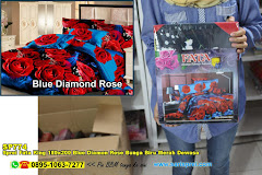Sprei Fata King 180×200 Blue Diamon Rose Bunga Biru Merah Dewasa