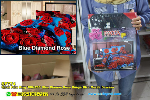 Sprei Fata King 180x200 Blue Diamon Rose Bunga Biru Merah Dewasa