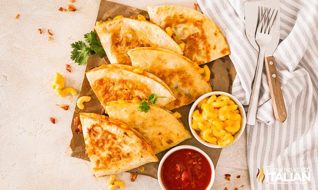 macaroni and cheese quesadillas on a tray