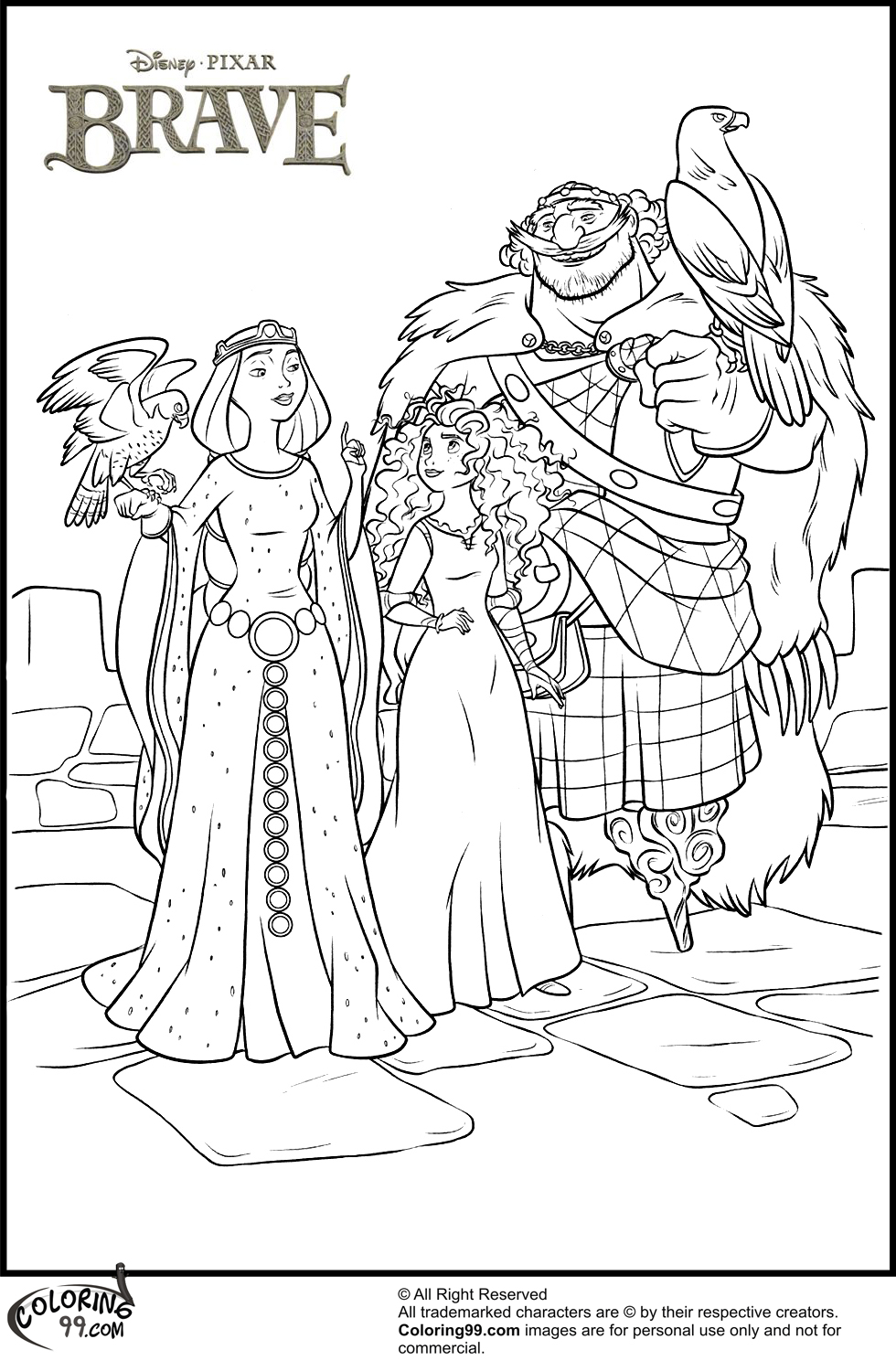 Disney Princess Merida Coloring Pages Team Colors
