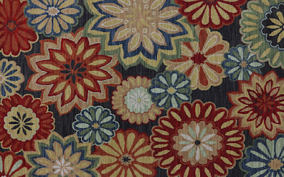 Bright, bold flower patterned carpet