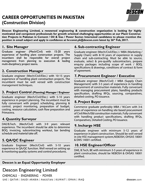 DESCON ENGINEERING LIMITED, Jobs February 2017
