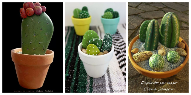 DIY PAINTED STONE CACTUS