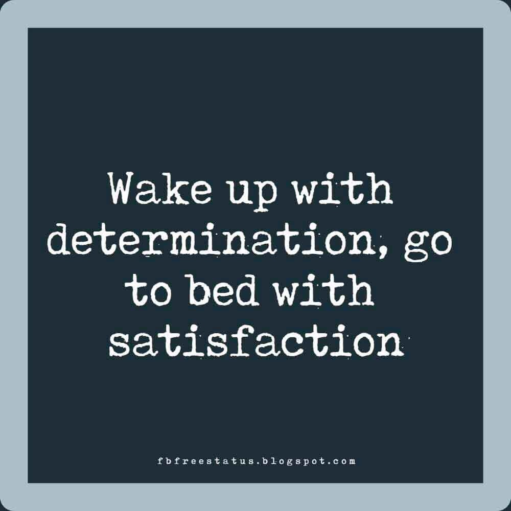 Wake up with determination, go to bed with satisfaction.