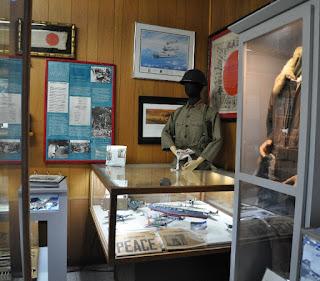 Museum display of captured Japanese WWII memorabilia