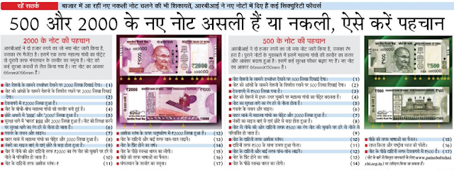 Duplicate VS Original Rs. 500, 2000 notes