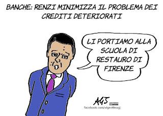 banche, renzi, crediti, derivati, economia, satira, vignetta