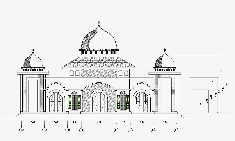 Kumpulan Gambar Sketsa Masjid Simple