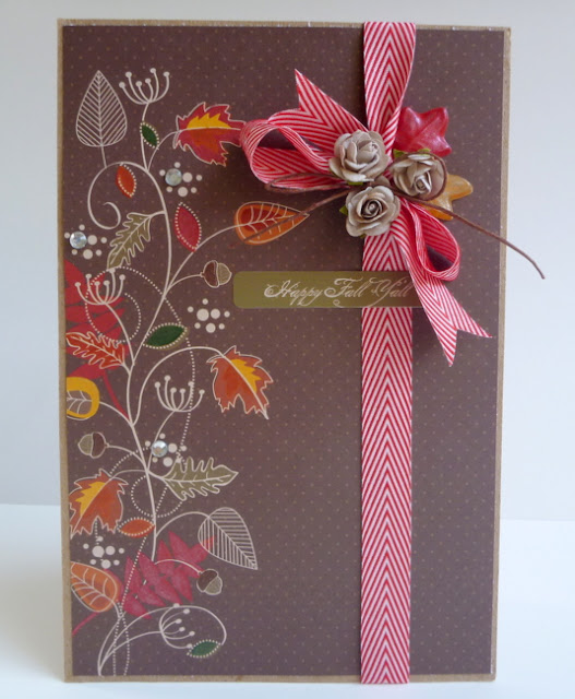 Brown Card with Hand-Painted Leaves in Autumn Colors