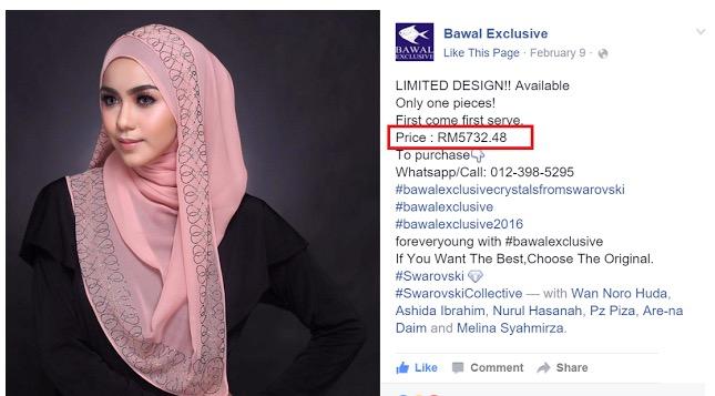 Penjelasan Bawal Exclusive Kenapa Tudung Mencecah Harga RM5700
