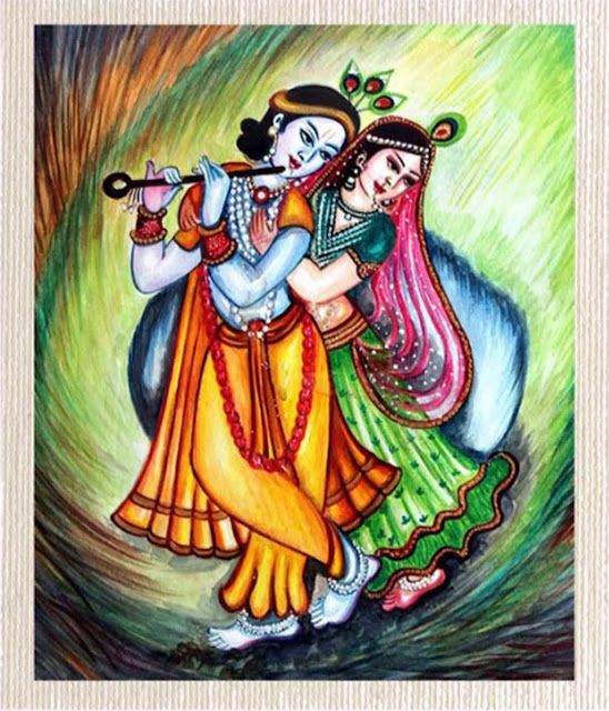 Canvas Radha Krishana Painting Without Frame Silver Plated