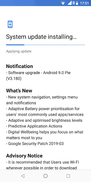 Nokia 3.1 receiving Android Pie