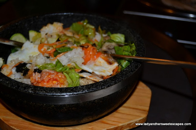 The Traditional Bibimbap in a hot stone bowl at Hyu Korean Restaurant