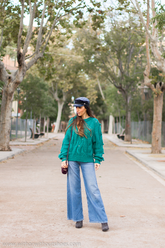 Streetstyle fashion week Influencer blogger valencia con look urban chic comodo estiloso idea como combinar Jeans palazzo flared