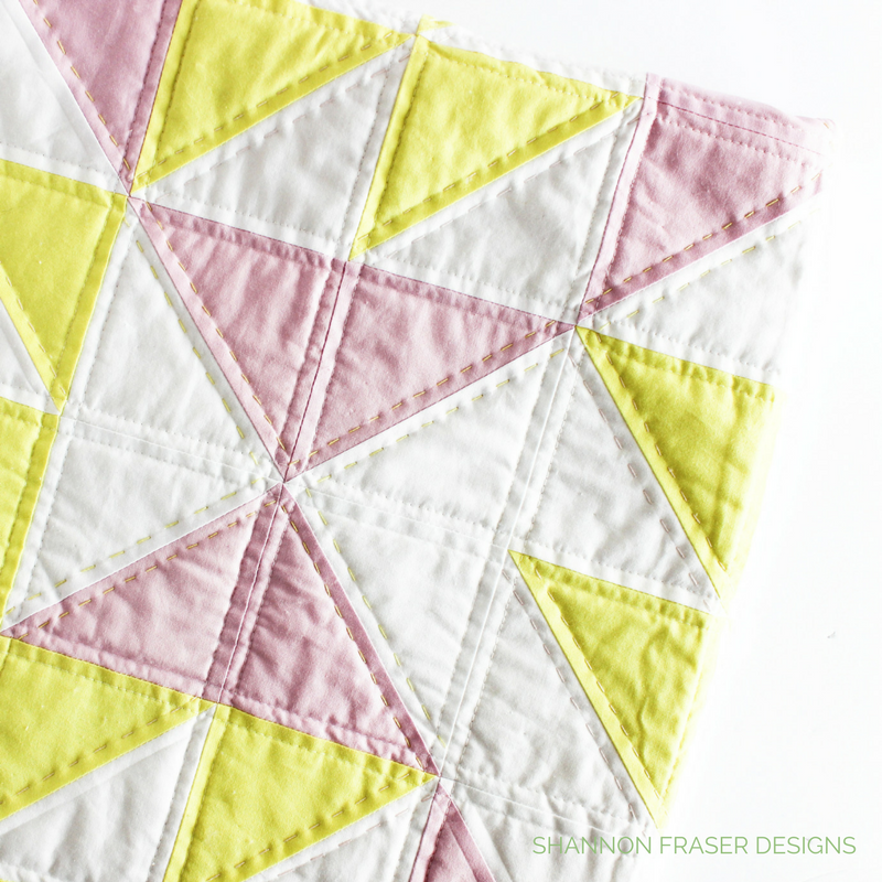 Pink Lemonade Quilt | Shannon Fraser Designs | Modern Baby Quilt | Hand Quilted | Aurifil Thread | Kona Cotton | Baby Girl Quilt | Modern Nursery Decor