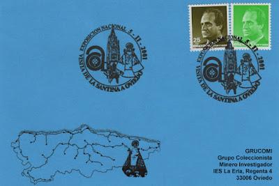 Tarjeta del matasellos dedicado por el Centro Asturiano a la Visita de la Santina a Oviedo