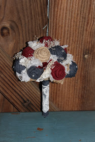 maroon and navy fabric wedding bouquet