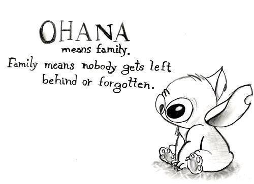A picture with Stitch and text about family