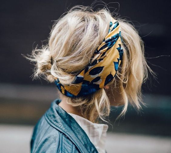 messy bun, low bun, scarf, summer, hair, hairstyle, trend, hack, Instagram, easy, simple, beauty