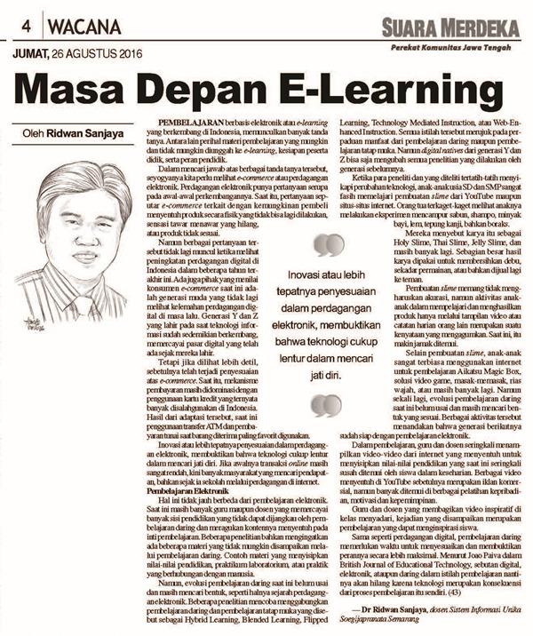 Masa Depan E-Learning @ Suara Merdeka 26 Agustus 2016