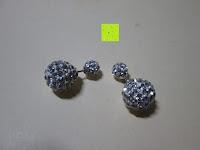 Lieferumfang: Numeis 1 Paar Damen Kristall Disco Shamballa Kugel 925 Sterling Silber Ohrringe Ohrstecker