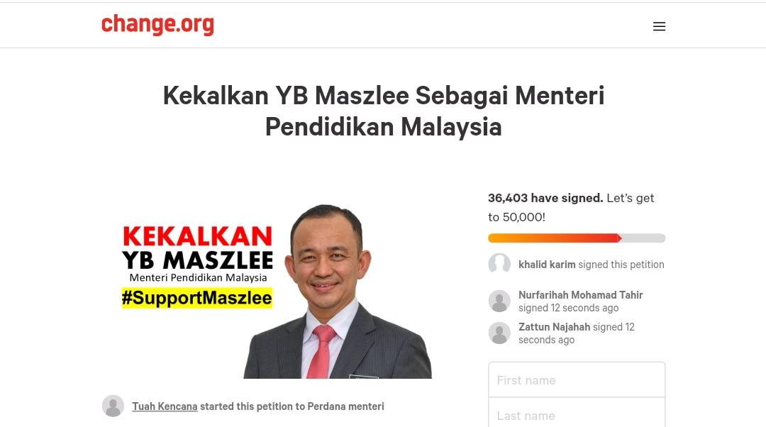 Petisyen kekalkan Maszlee Malik sebagai Menteri Pendidikan Malaysia