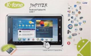 K-Fone Jupiter HD Tablet Android Jelly Bean Murah harga dibawah 1.5 juta