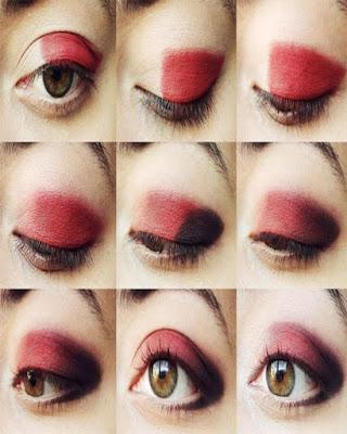 maquillaje de ojos rojo sombra negra paso a paso