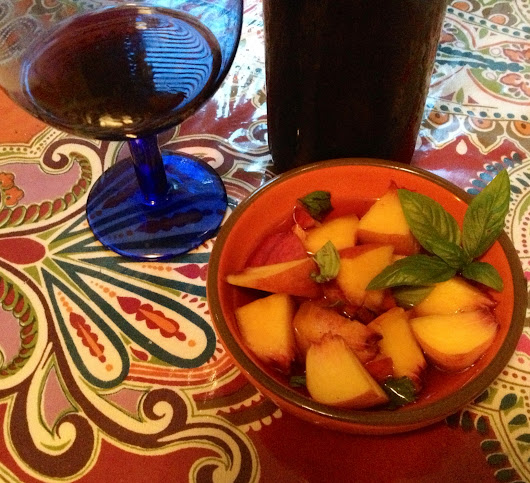 Fresh Peaches and Red Wine