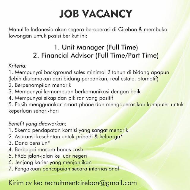 Lowongan Kerja di Asuransi Perusahaan Manulife Cirebon