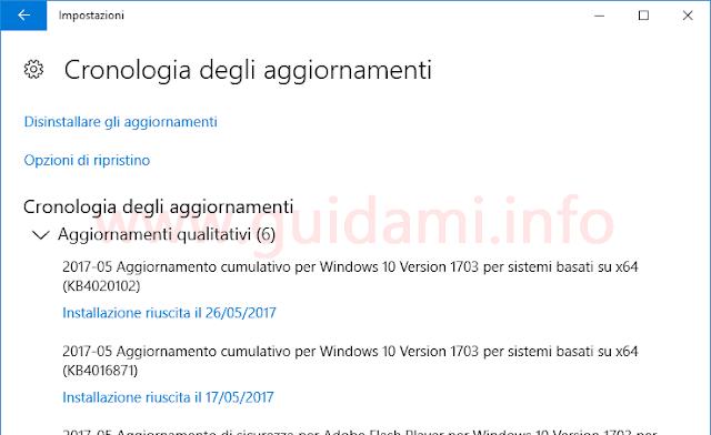Windows 10 finestra Cronologia degli aggiornamenti installati