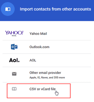 import from csv or vcard