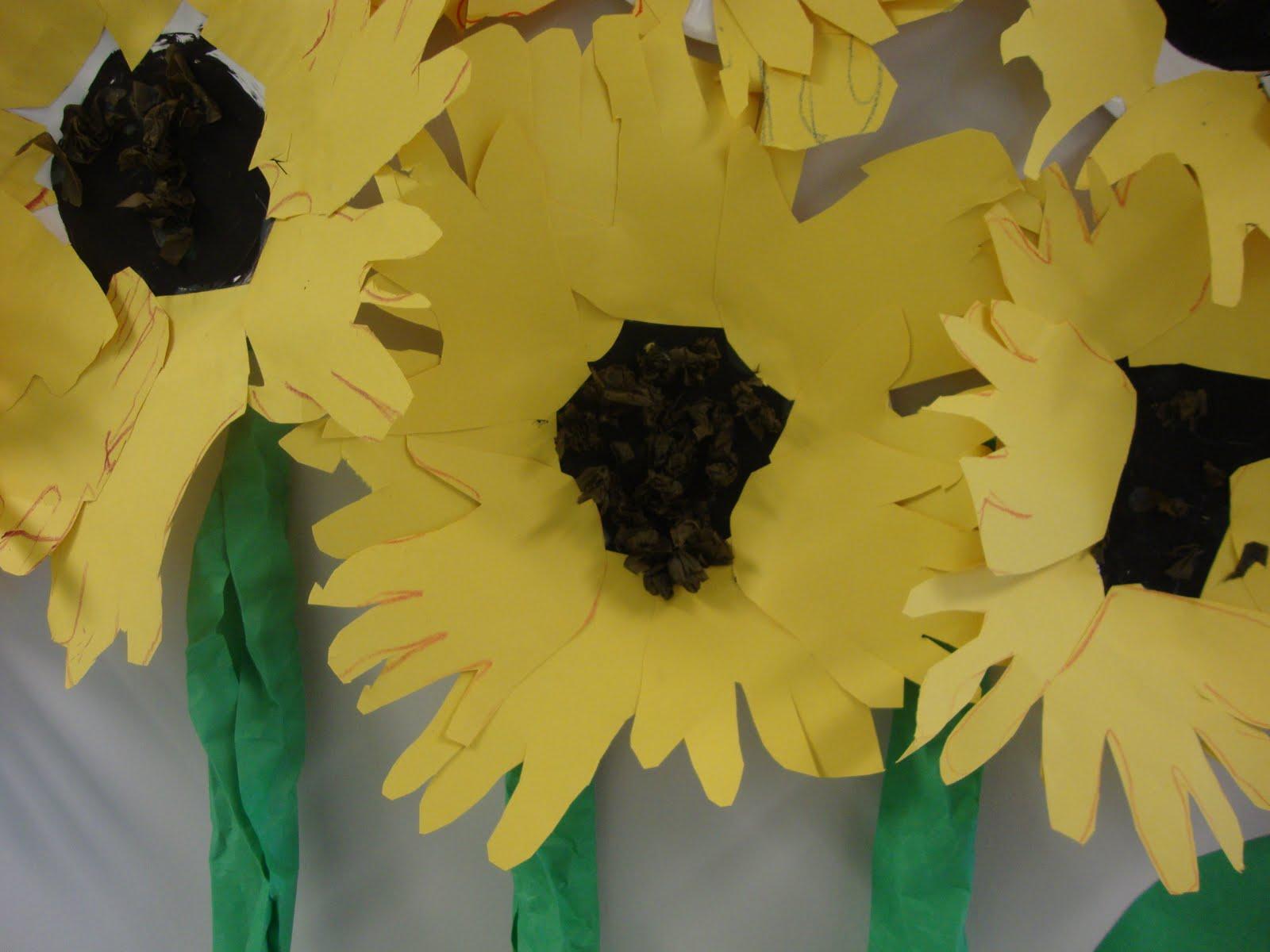 Art Paper Scissors Glue Sunflowers And Sculptures