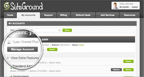 How to access my Control Panel (Siteground cPanel)?
