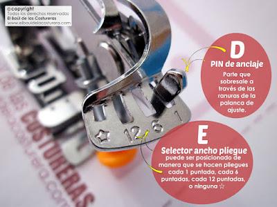 Prensatelas para hacer frunces y pliegues para máquinas de coser caseras Partes Selector ancho pliegue