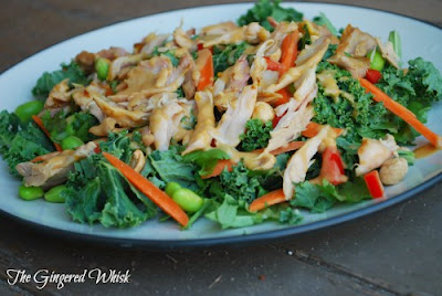 Thai Kale Salad with Chicken and Peanut Dressing (The Gingered Whisk)