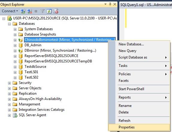 resume database mirroring