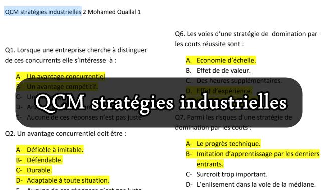 QCM Stratégies industrielles