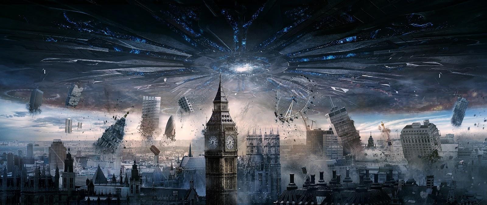 Cena do filme Independence Day mostrando invasão alienígena