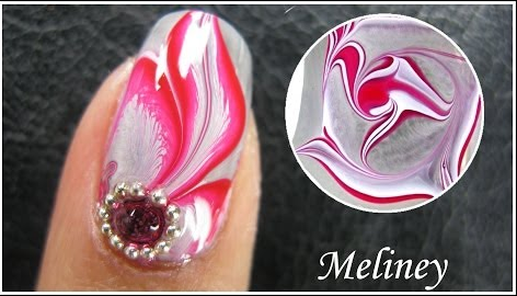 Water Marble Nail Art Tutorial Enchanted Forest Red Flower Feather