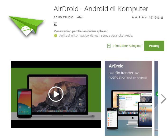 6 aplikasi Android terbaik transfer file dengan sekejap - Air Droid