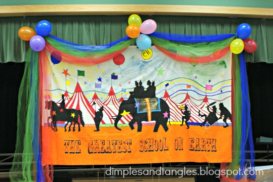 School fun fair carnival decorations dimples and tangles for Annual day stage decoration images