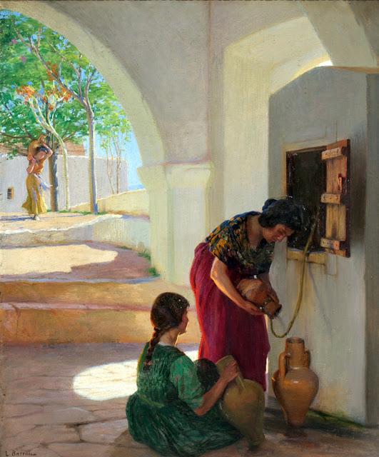 Laureano Barrau Barcelona,  Aguadoras de Ibiza, Pintura española, Pintor Catalán, Retratos de Laureano Barrau Buñol