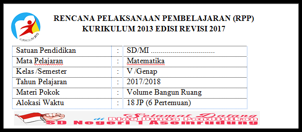 RPP Matematika Kelas 5 Semester 2 KK-2013 Edisi Revisi 2017